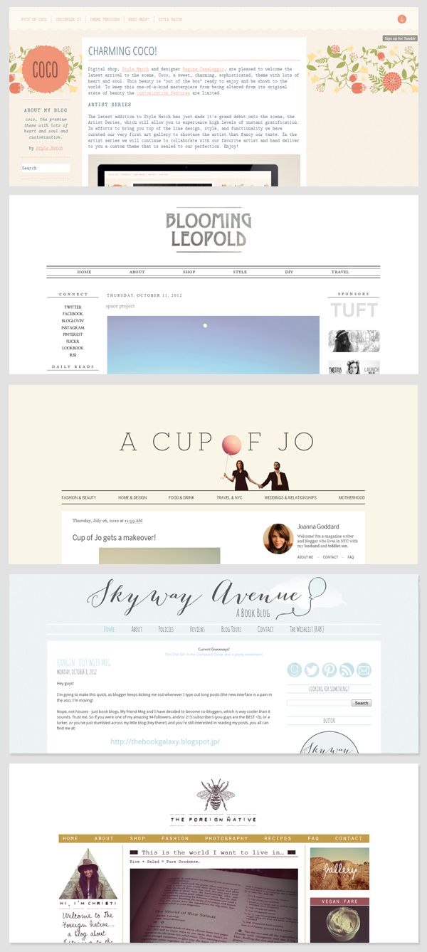 cute blog designs. like the name of the blog at the top and centered, with lots of pictures visible