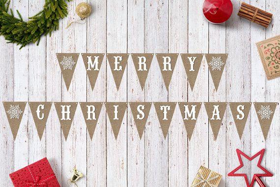 Printable Merry Christmas Banner INSTANT DOWNLOAD / Christmas / Burlap / Snowflake / DIY / Prop