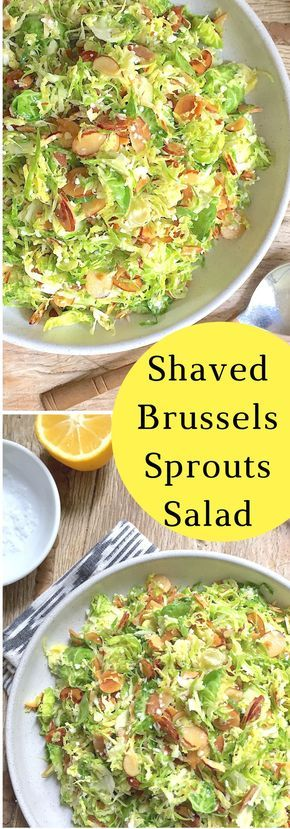 Shaved Brussels sprouts salad with lemon, almonds, and Pecorino cheese. Brussels are one of the healthiest foods you can eat and delicious in this raw salad.