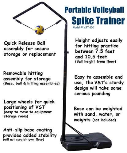 Volleyball Spike Trainer. Perfect your Volleyball hitting technique using the most cost-effective and durable Volleyball Spike Trainer on the market. Work on your Volleyball footwork, Volleyball Approach, Jump Technique, Volleyball Arm Swing, and Volleyball Contact.