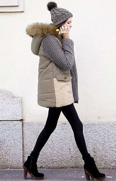 Cozy Grey Parka - Features Lamb Wool Hem