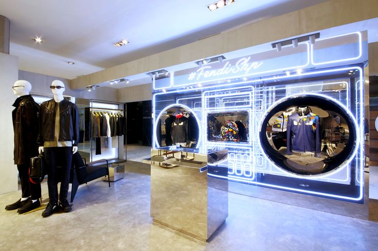 Inside the modern Fendi Men's pop-up in Beijing SKP displaying the edgy Spring/Summer 2016 Collection.