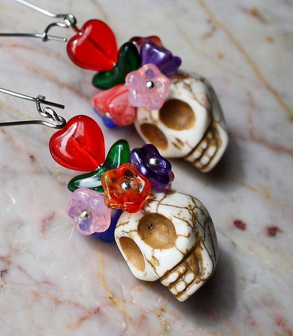 Sugar Skull Day of the Dead Muertos Frida Kahlo by Exgalabur, $18.00