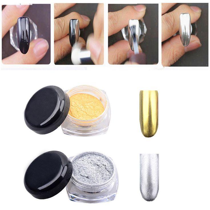 2g Nowy Złoty Srebrny Chrom Lustro Lustro Pigment Powder Nails Całkiem Dekoracji Paznokci Błyszczy z Brush Manicure Narzędzia
