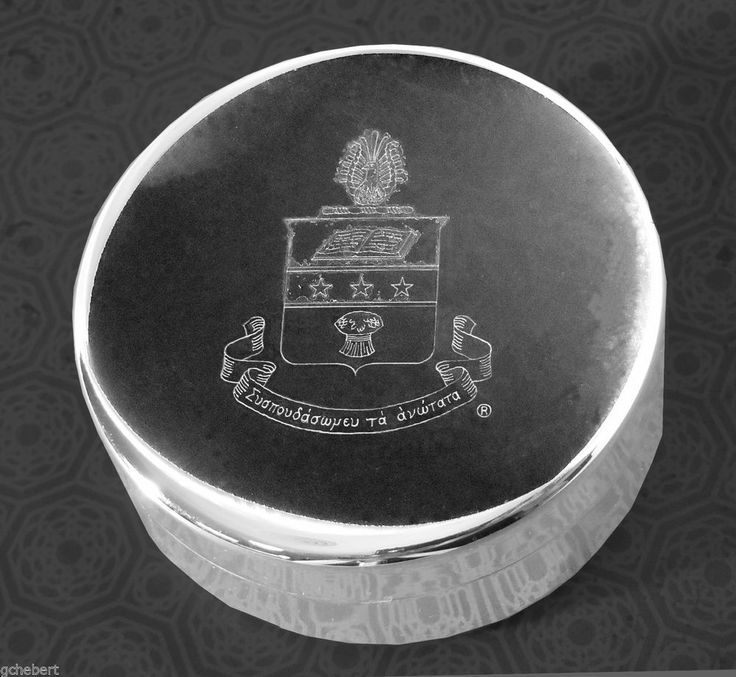 Alpha Chi Omega, ΑΧΩ, Engraved Crest Silver Plate Small Jewelry Box/Pin Box  #McCartney