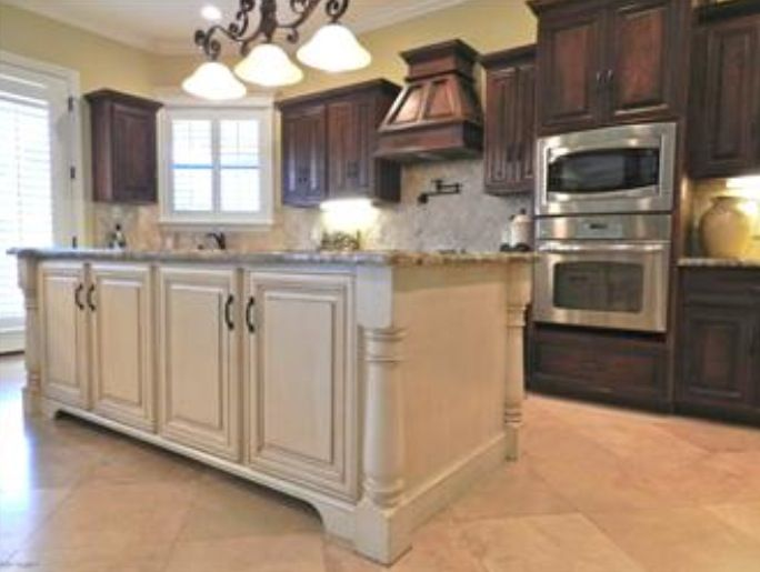 dark cabinets- white island | Antique white kitchen ...