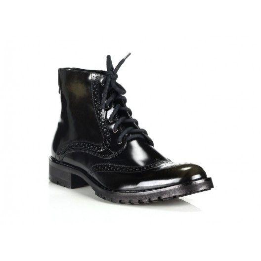 Pánske kožené topánky COMODO E SANO čiernej farby - fashionday.eu