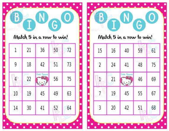 hello kitty printable bingo card party by