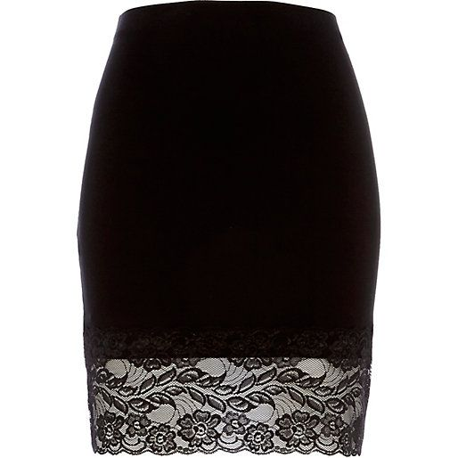 Black lace hem pencil skirt #riverisland