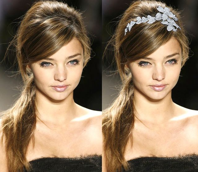 Messy Side Ponytail with Flower Headband Tiara