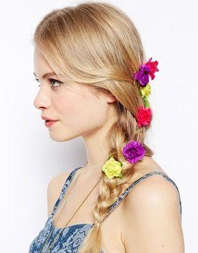 ASOS Pack of 6 Summer Flower Hair Grips - Multi