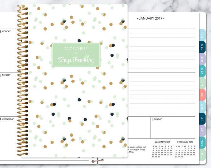 kalender van 2017 planner Kies start maand | maandelijkse tabbladen per student planner gepersonaliseerde agenda daytimer toevoegen | Mint gouden confetti