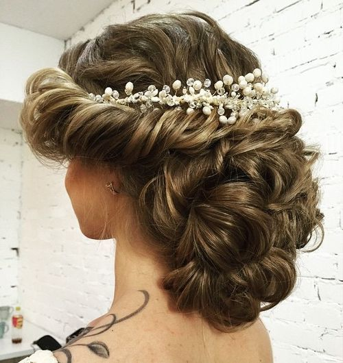 curly wedding updo without veil