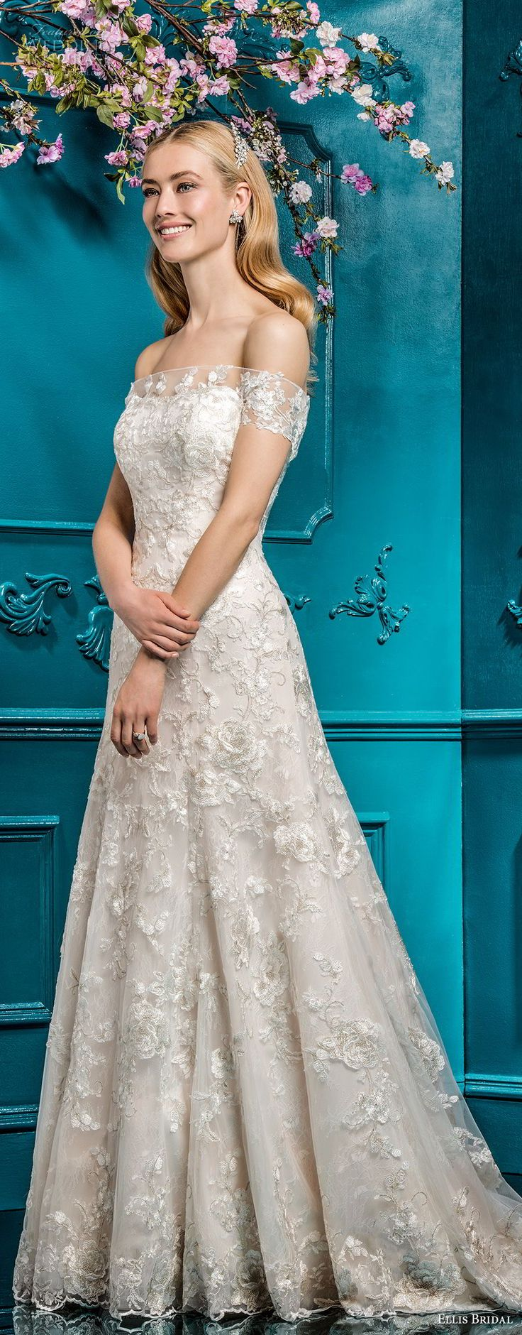 ellis bridals 2018 strapless straight across neckline full embellishment romantic elegant a  line wedding dress chapel train (3) mv -- Ellis Bridals 2018 Wedding Dresses