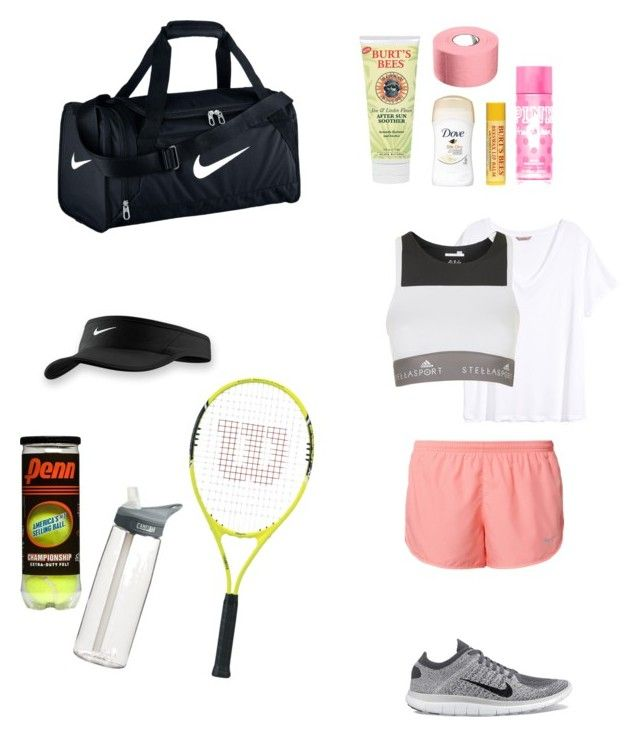 """tennis practice"" by chlolli ❤ liked on Polyvore featuring H&M, CamelBak, Burt's Bees, NIKE and adidas"