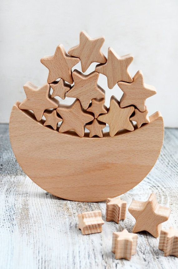 Moon and Stars wooden toy for children Wooden toddler toy Educational toys Space themed nursery decor wood gifts balance toy gift for boyMamoo Kids