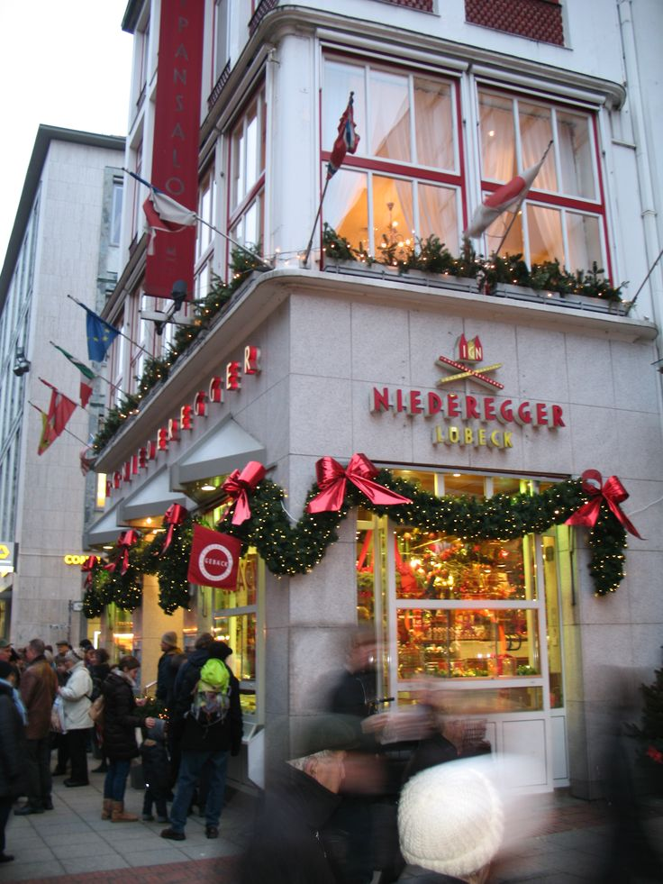 The front of the Niederegger marzipan store in Lubeck.