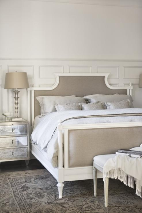 Bedrooms Decorative Wall Moldings Mirrored Nightstands Mushroom Linen Bed Gray Bedding French