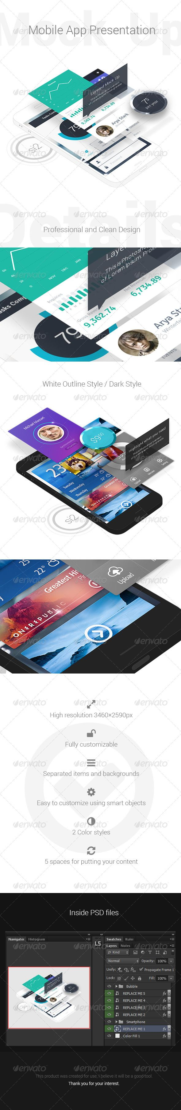 Mobile App Presentation MockUp — Photoshop PSD #layer #black • Available here → https://graphicriver.net/item/mobile-app-presentation-mockup/6269679?ref=pxcr