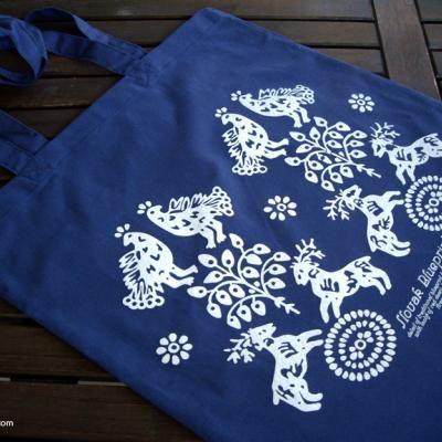 Taška Hranovnica modrá | folk blueprint bag | Slovakia Gift