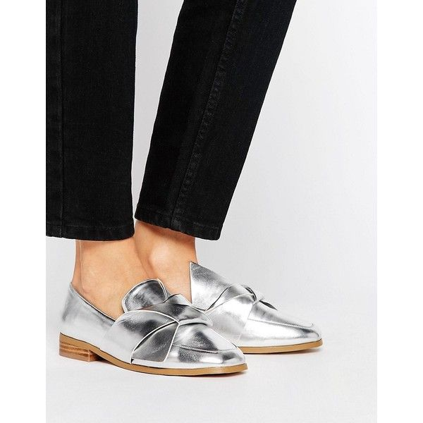 ASOS MAXIMUM Knotted Flat Shoes ($40) ❤ liked on Polyvore featuring shoes, flats, silver, prom shoes, silver low heel shoes, flat shoes, flat pumps and slip on shoes