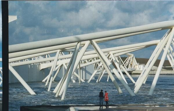 Stormsurge barrier Maeslantkering in Holland keeping the Dutch protected from the water. It is part of the Delta Works and it is one of largest moving structures on Earth.