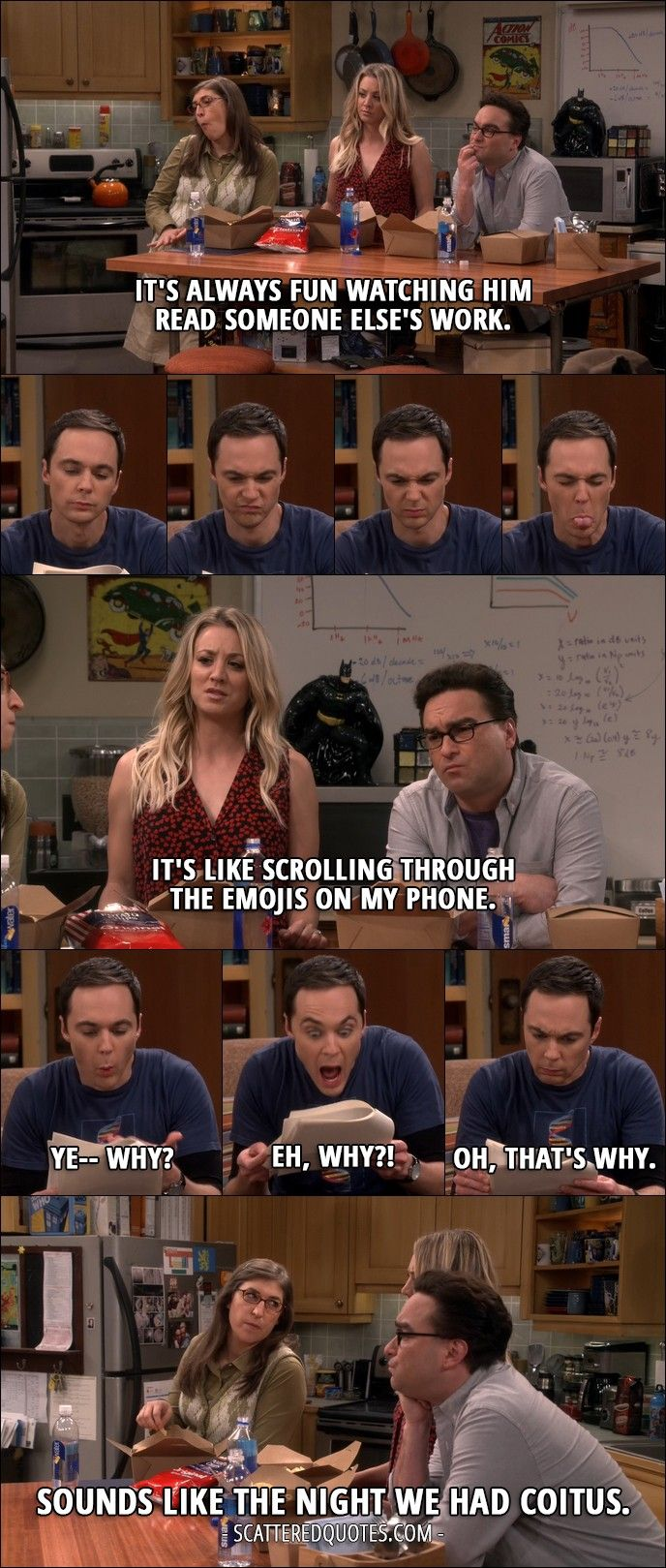 Quote from The Big Bang Theory 10x09 │  Leonard Hofstadter: It's always fun watching him read someone else's work. Penny Hofstadter: It's like scrolling through the emojis on my phone. Sheldon Cooper: Ye– why? Eh, why?! Oh, that's why. Amy Farrah Fowler: Sounds like the night we had coitus.