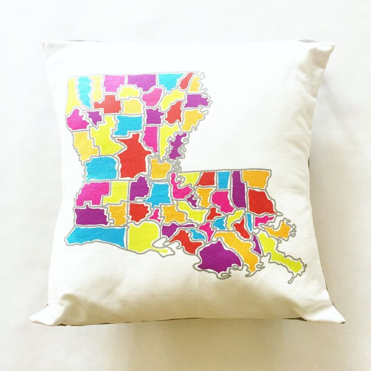 Louisiana Map Colored Parishes Pillow