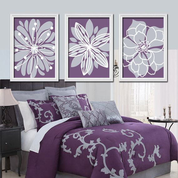 Purple Lavender Gray Flower Burst Outline Dahlia Floral Bloom Artwork Set  of 3 Prints WALL Decor. Best 25  Bedroom canvas ideas only on Pinterest