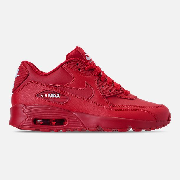 Big Kids' Nike Air Max 90 Leather Casual Shoes | Red nike