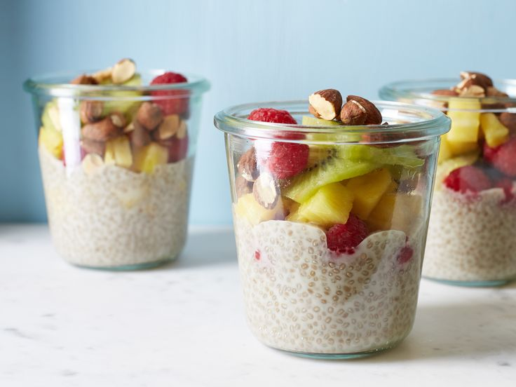Coconut-Chia Pudding-in-a-Jar : Make this fruity, nutty, healthy dish for breakfast or dessert — it's your choice. The chia makes this pudding reminiscent of tapioca; it's also a good source of Omega-3 fatty acids. via Food Network