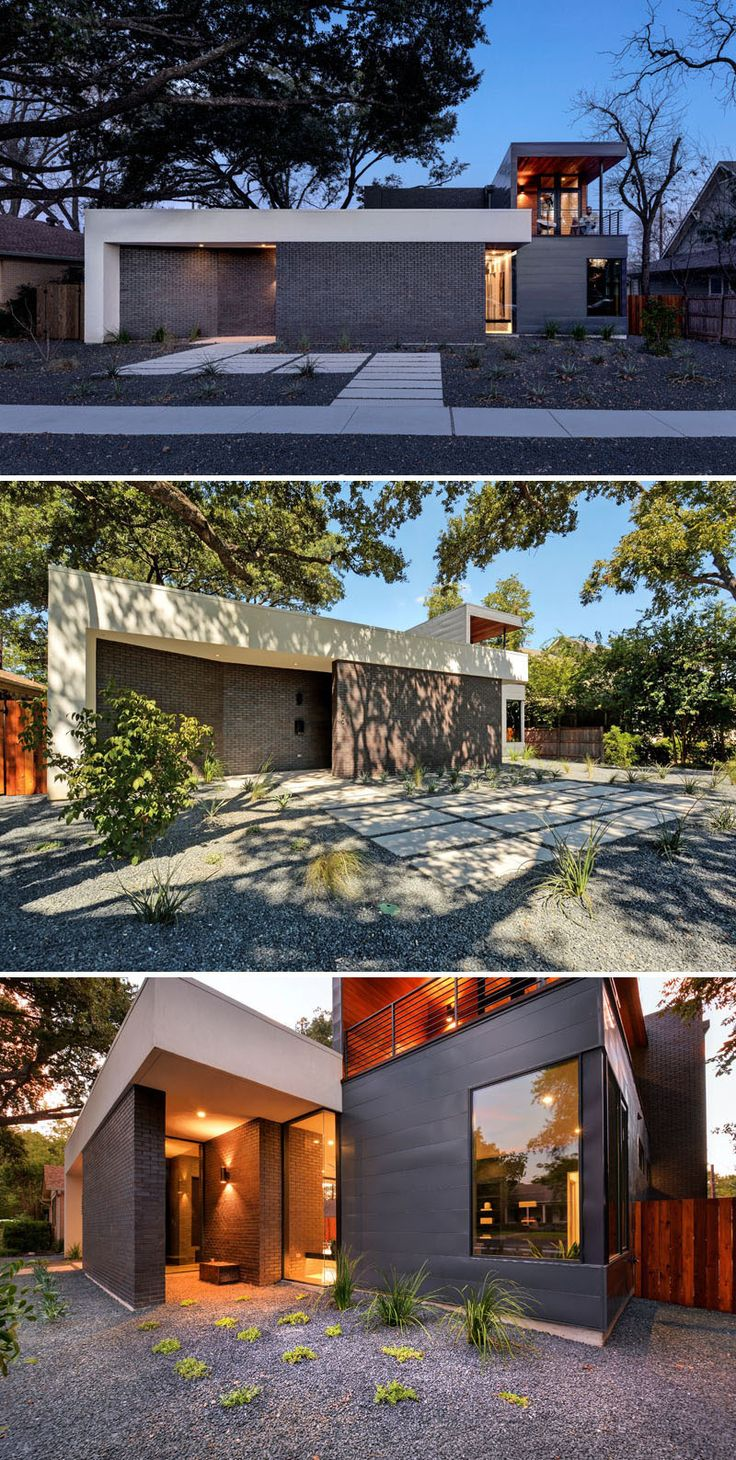 Designed by Matt Fajkus Architecture, this Texas home has a facade that's a bit different to regular homes, in that the front masonry wall replaces the typical residential fence.