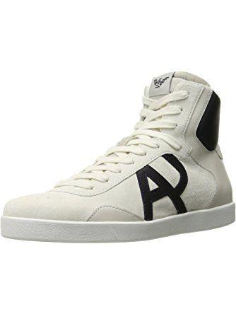 Armani Jeans Men's Classic Aj Logo High Top Fashion Sneaker, White, 46 EU/11 M US ❤ Armani Jeans