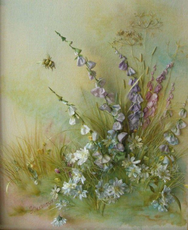 Angela Yuklyanchuk obrazy vysivane stuhami 8