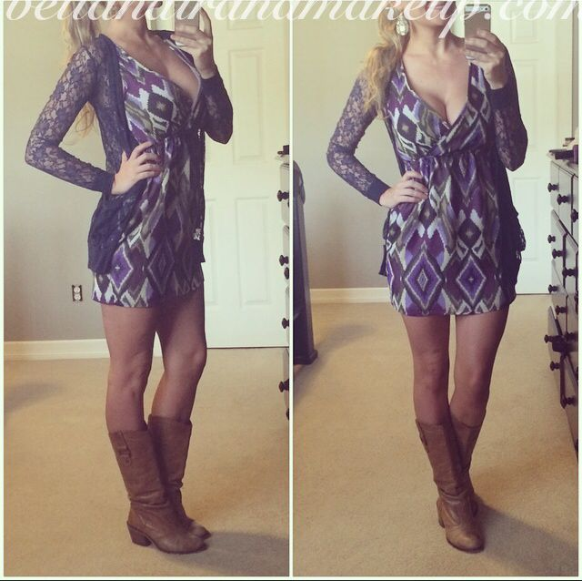 Tribal print dress, boots, lace sweater