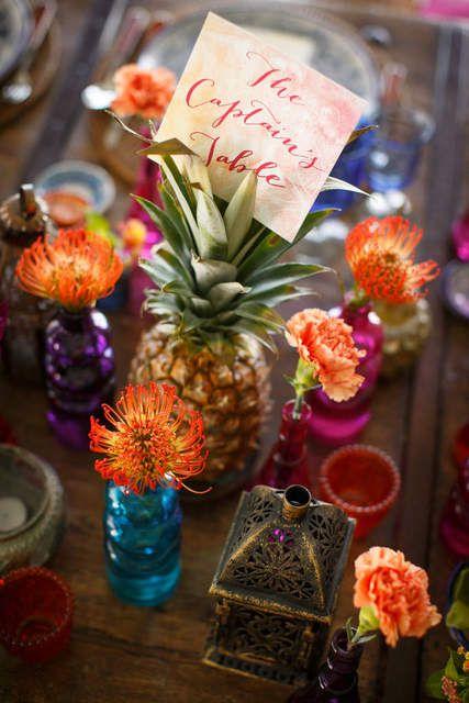 pineapple wedding centerpiece // Bohemian wedding tablescape