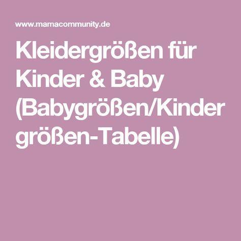 Kleidergrößen für Kinder & Baby (Babygrößen/Kindergrößen-Tabelle)