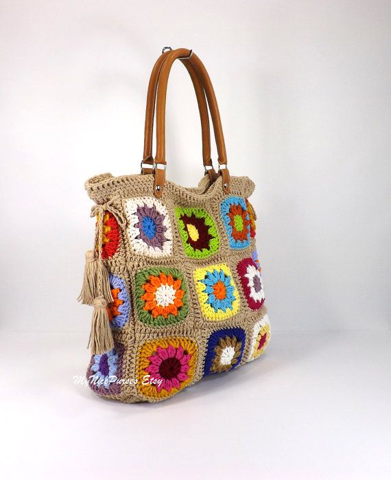 Crochet Granny Squares Tote Bag with tassels and by Avaneska