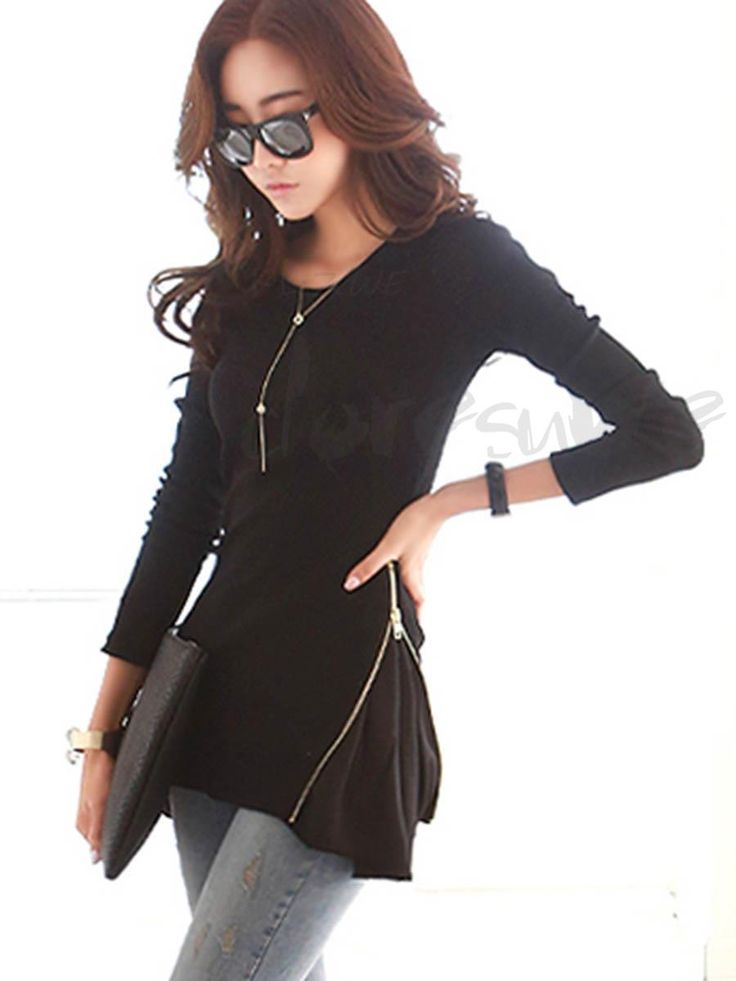 Doresuwe.com SUPPLIES レディースファッションTシャツ ロングトップス 白黒全2カラー T-シャツ (6)