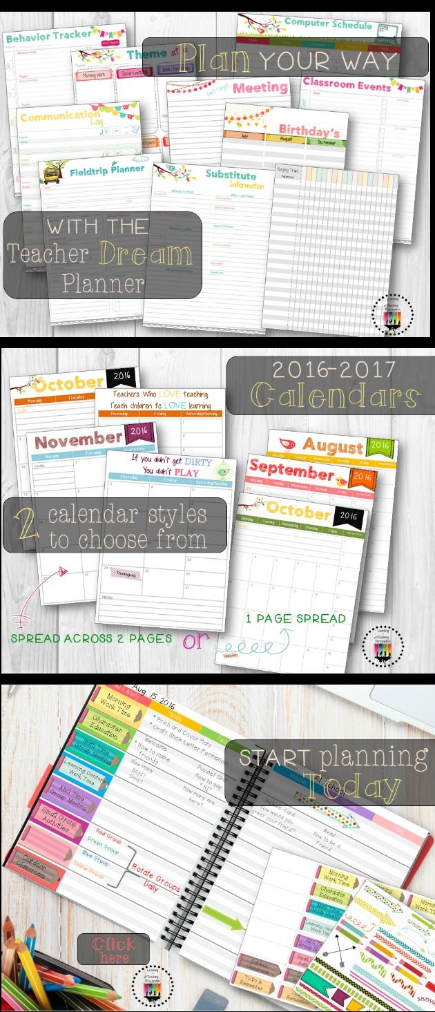 Tired of purchasing planners that you can only use half of?  Start planning your way with the Teacher Dream Planner.  Customize it your way with over 28 planning templates to choose from.  Print what you need when you need it.  Start planning today.