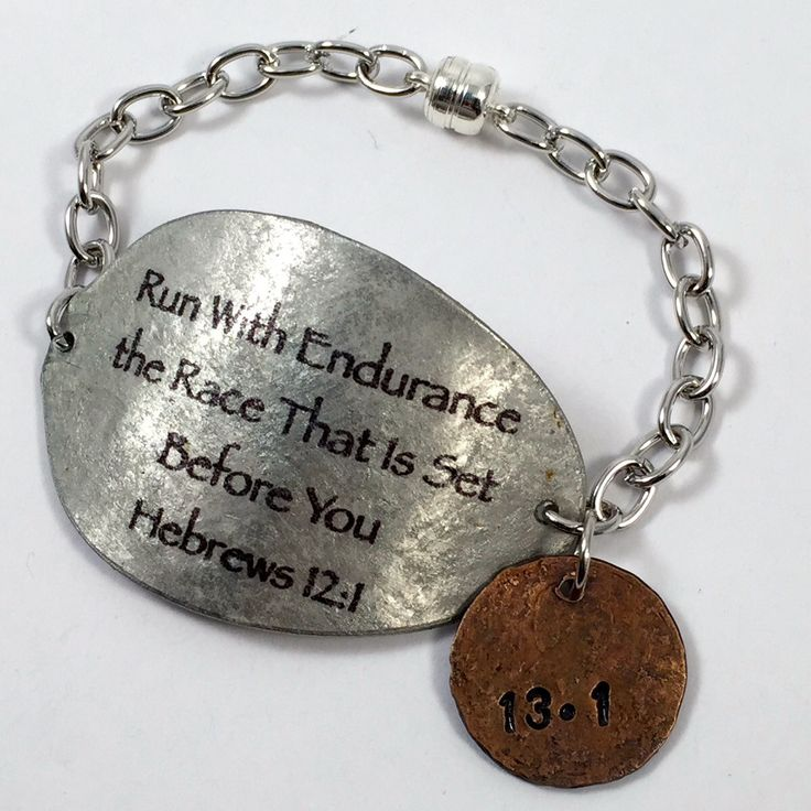 Hebrews 12:11 Spoon Bracelet with Penny Charm, Scripture Bracelet, Silverware Jewelry, Gift for Runner, runners bracelet, Commemorate race by kyleemaedesigns on Etsy