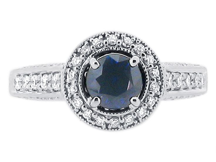 Round Sapphire Set in Diamond Antique Halo Style - ER 1248