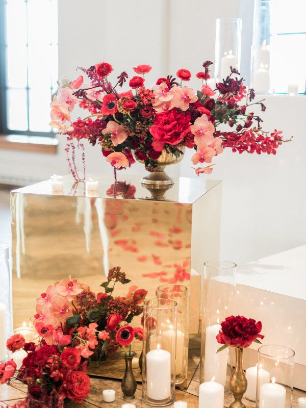 Contemporary Red Wedding Inspiration At West Edge In New York City Red Wedding Flowers Red Wedding Floral Wedding