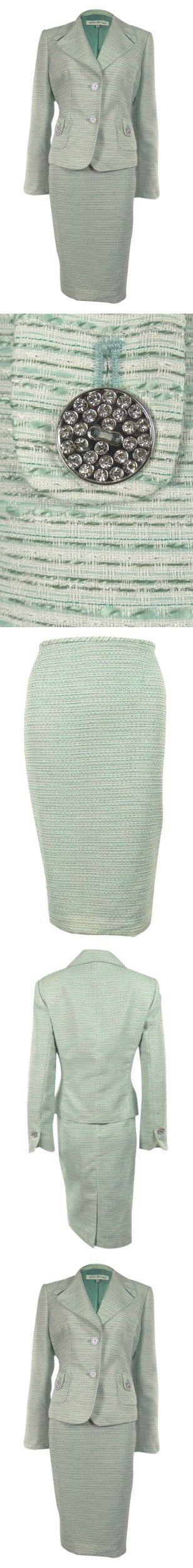 Women's Metallic Fabric Jewel Button Business Suit Skirt Set (14W, Aqua)