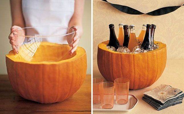 It's Officially October! A DIY pumpkin cooler is a great way to add some orange to your Halloween party! Check out these other awesome ideas from Brit + Co!