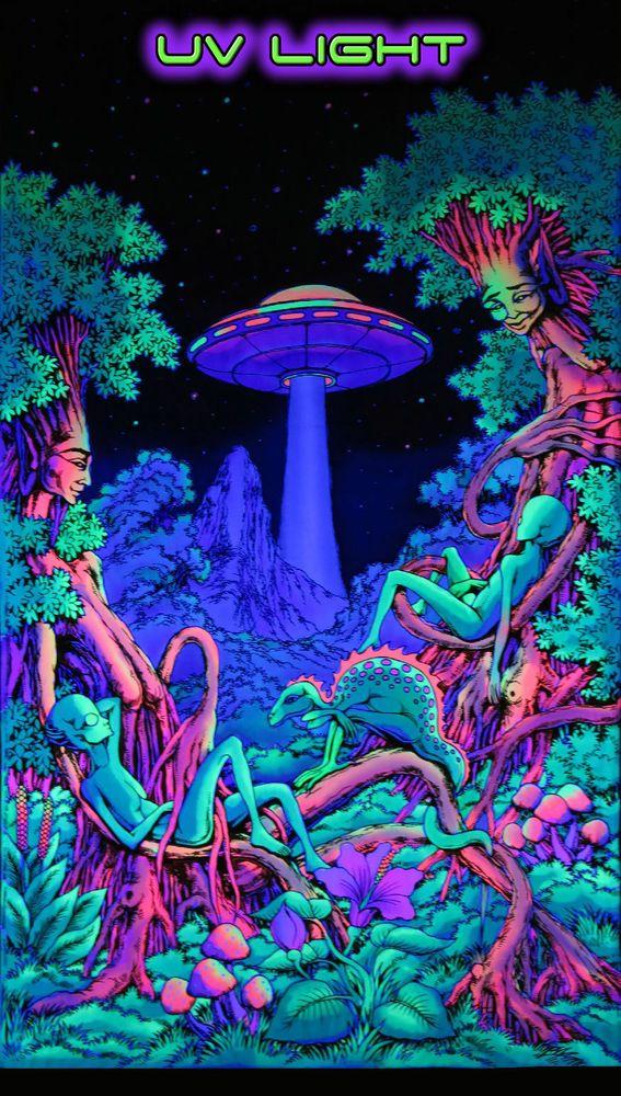 UV Backdrop UFO Jungle Wandbehang 1,9m x 1,2m Hippie Goa Tuch Psy Wandtuch Kunst