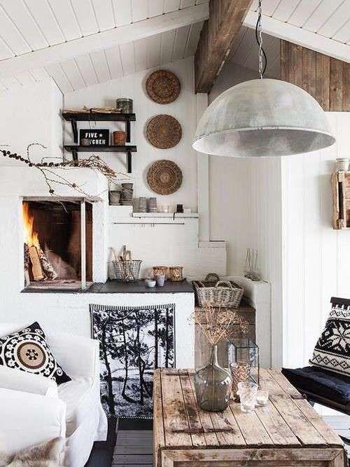 Ideas decorativas para el salón de tu casa rural - Fuente: Pinterest