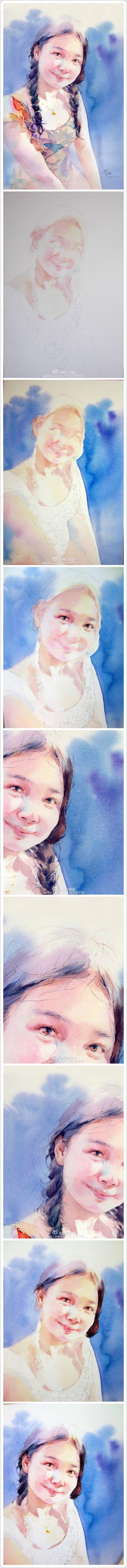 微博晚安水彩的学生作品水彩教程