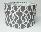Drum Lamp Shade Lampshade in Schumacher Summer Palace Fret in Smoke/Grey