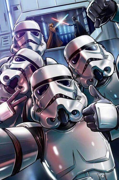 Lol! Hey guys, let's take a selfie Vader won't know!!